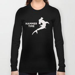 Hammerhead Shark Funny Silhoutte Fan Cool Sayings Pun Quote Humor Kids Adults Boys Girls Long Sleeve T-shirt