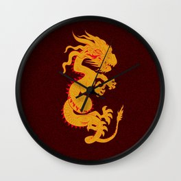 Golden Dragon with Red Textured Background Wall Clock