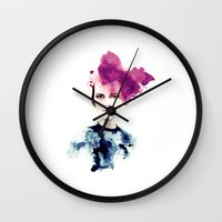fashion illustration Wall Clocks featuring fashion illustration by Ivy Gao