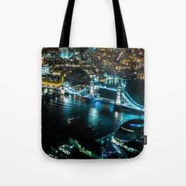 Aerial view of Tower Bridge at Night Tote Bag