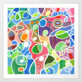 Jubilant Loops Pattern Art Print