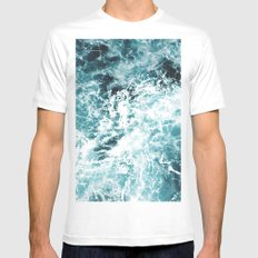 Sea Waves Mens Fitted Tee White LARGE