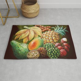 Exotic Fruits Still Life Color Pencils Art Rug