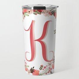 Personal monogram letter 'K' flower wreath Travel Mug