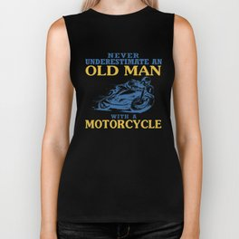 OLD MAN WITH A MOTORCYCLE Biker Tank