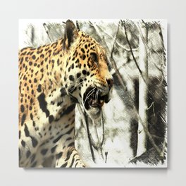 tree branch african safari animal leopard Metal Print