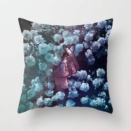 Love Finger Snap Space Floral Throw Pillow