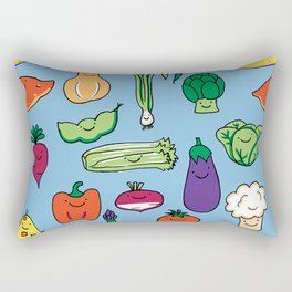 Cute Smiling Happy Veggies on blue background Rectangular Pillow