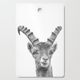 Black and white capricorn animal portrait Cutting Board