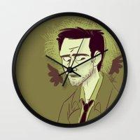 castiel Wall Clocks featuring Castiel by The Art of Nicole