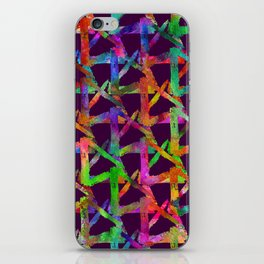 Cool watercolor rainbow brush plaid. Bright print iPhone Skin