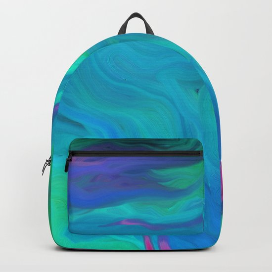 AGATE BLUE ABSTRACT OIL PAINTING Backpack
