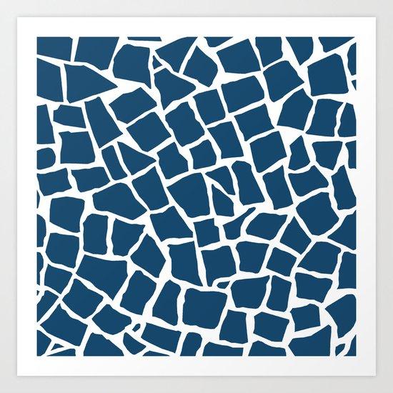 Mosaic Zoom Navy Art Print