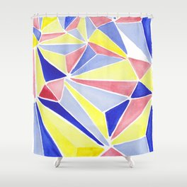Watercolor colorful beach triangles. Watercolor geometry 3D effect. Shower Curtain