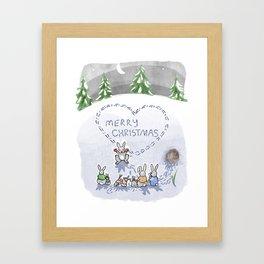 Christmas bunnies Framed Art Print