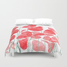 abstract red poppy field watercolor Duvet Cover