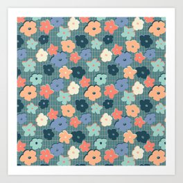 Peach and Aqua Flower Grid Art Print