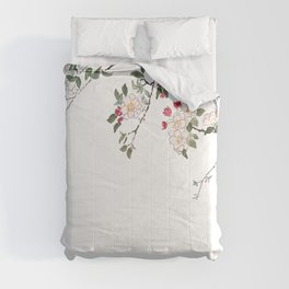 pink cherry blossom Japanese woodblock prints style Comforters