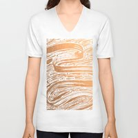 rose gold V-neck T-shirts featuring Rose Gold Galaxy by IndigoEleven