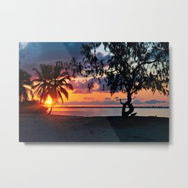 Tropical Sunset Beach Palm Trees Landscape Metal Print