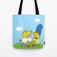 simpson Tote Bags featuring The Peppa Simpson Family by Carlos Paboudjian