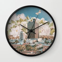 City of White Peonies Wall Clock