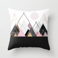 nordic Throw Pillows featuring Nordic Mountains by Elisabeth Fredriksson