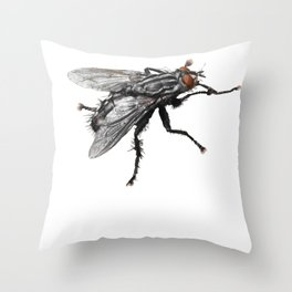 Pretty Giant black Fly with Bristles Throw Pillow