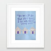 paper towns Framed Art Prints featuring paper towns  by cgold