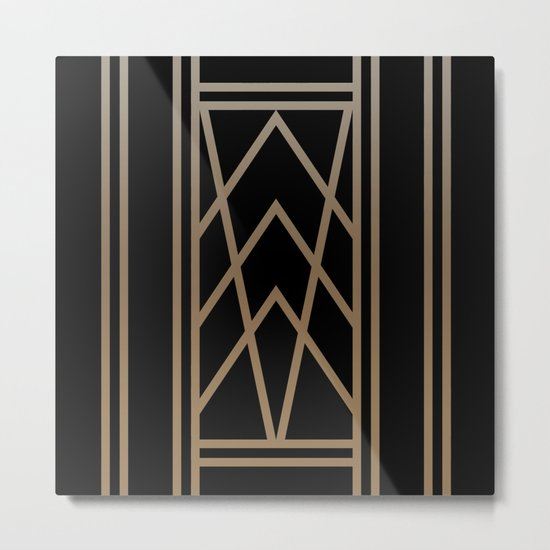 BLACK AND GOLD 2 (abstract art deco geometric) Metal Print