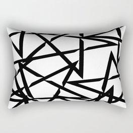 Interlocking Black Star Polygon Shape Design Rectangular Pillow