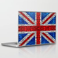 british flag Laptop & iPad Skins featuring British Flag - Brittain England Stone Rock'd Art by Sharon Cummings