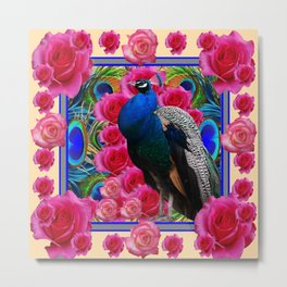 BLUE PEACOCK &  CREAM COLOR  PINK ROSE  FLOWERS Metal Print