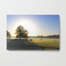 Sunrise in a Rural Hayfield Metal Print