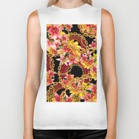 versace Biker Tanks featuring Chained in Gold  Flowers by Dave Higs