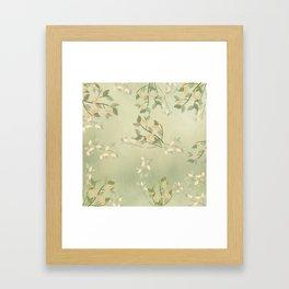 Sage Green Watercolor Woodland Leaves Framed Art Print