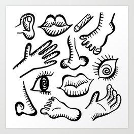 Body foot nose etc Art Print