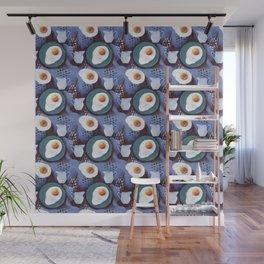 Scrambled eggs and jug. Pattern. Wall Mural