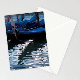 Venetian gondolas, with silhouette reflection in water Stationery Cards