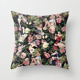 Floral and Pin Up Girls Pattern Throw Pillow