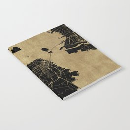 San Francisco California Black and Gold Map Notebook