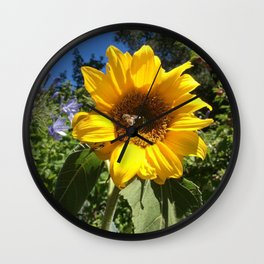Bee on sunflower Wall Clock