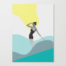 Swimmer Collage Canvas Print