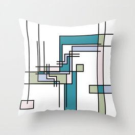 Untitled Line Composition- Mondrian Inspired Digital Illustration Art Print Throw Pillow
