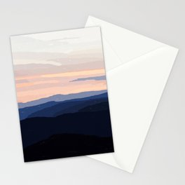 Pastel Sunset Over the Mountains Stationery Cards