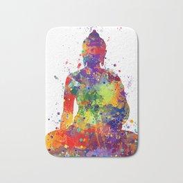 Buddha Watercolor Yoga Poster Zen decor Bath Mat