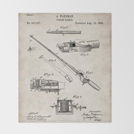 Fishing Rod Patent - Fishing Art - Antique Throw Blanket