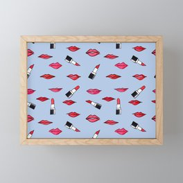 Lips and lispticks pattern in clear background Framed Mini Art Print