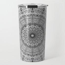 Mandala Project 626   Black and White Lace Mandala Travel Mug