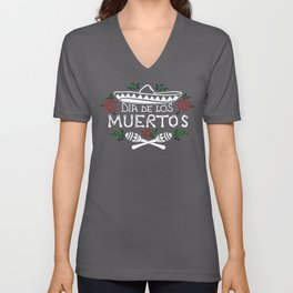 Peaceful design for the Dia de los Muertos party. Sombrero, maracas and roses, Mexican style for you Unisex V-Neck